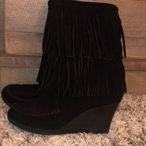 Minnetonka black suede with fringe, wedge booties